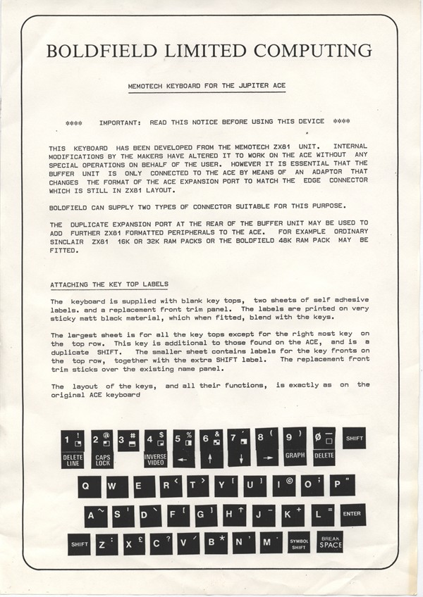 The instructions sheet from Boldfield Computing